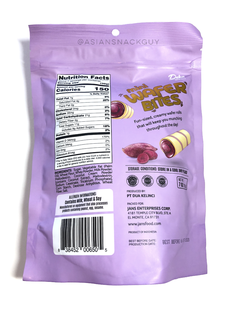 Deka Wafer Rolls Ube Flavor From Indonesia