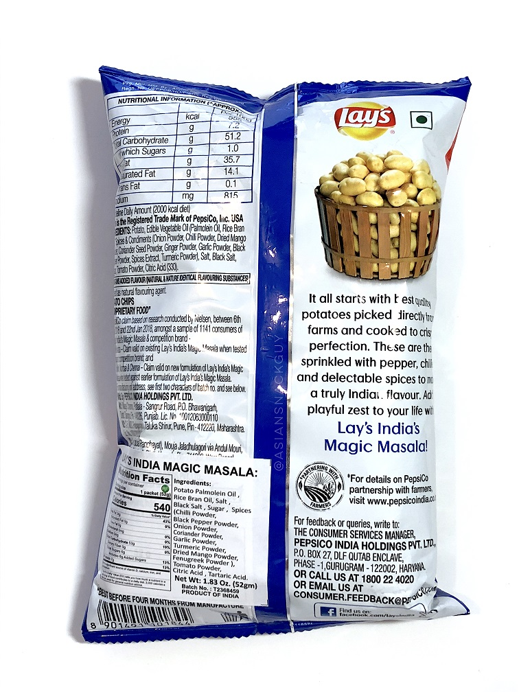 Nutrition label and ingredients of Lay's India magic masala potato chips