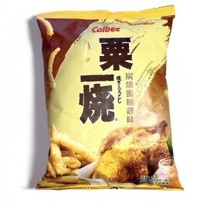 A Yellow bag of Calbee chips with Chinese character and corn chips